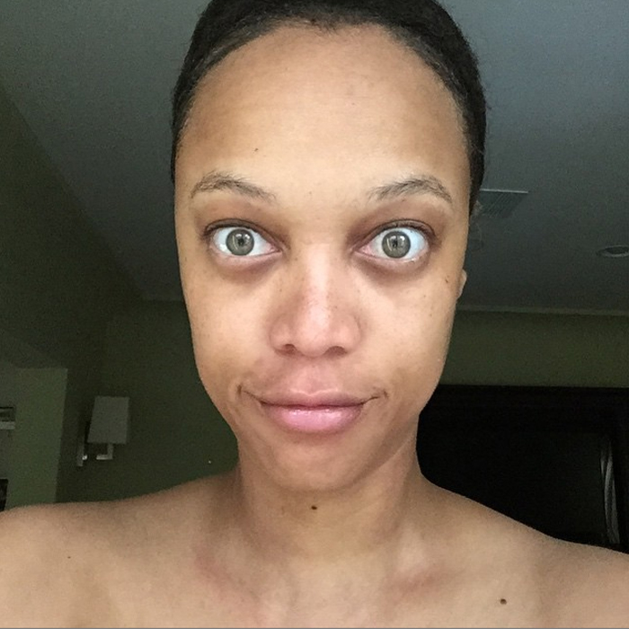 tyra banks no makeup selfie